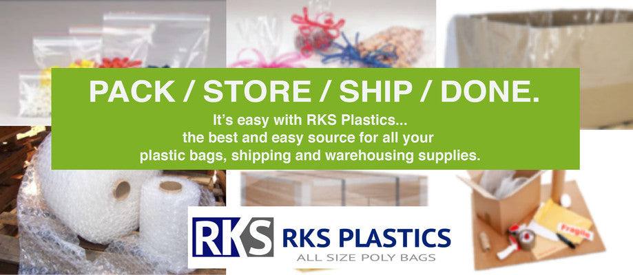 Pack Store Ship Done. It's easy with RKS Plastics - the best and easy source for all your plastic bag, shipping and warehouse supplies.