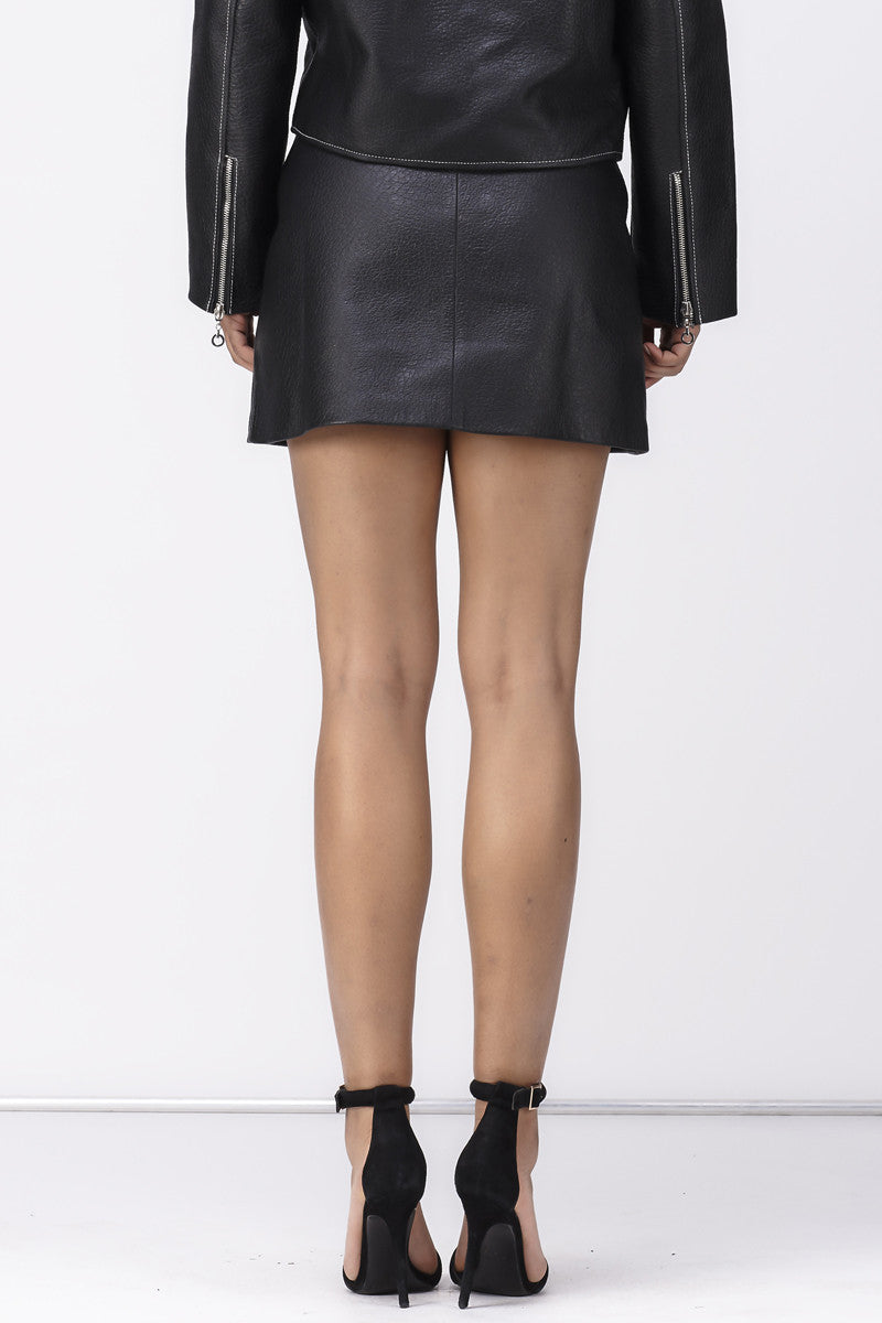 BABY IT'S ME LEATHER SKIRT - BLACK - Shakuhachi