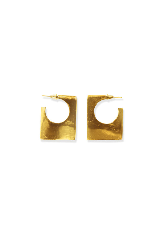 BLOCK SQUARE EARRING - Shakuhachi