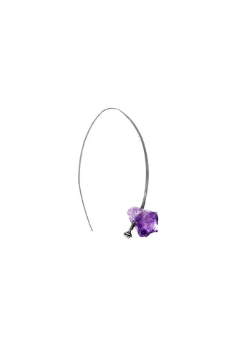 RAW CUT PURPLE STONE HOOK EARRING