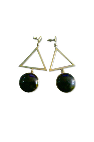 TRIANGLE HANGING STONE EARRING