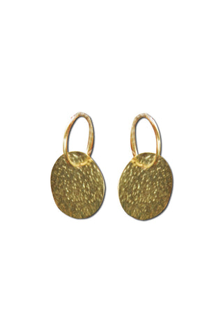 GOLD PLATE BATTERED HOOP EARRING