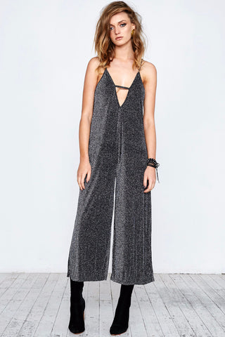 GLAM LEISURE JUMPSUIT - BLACK SILVER