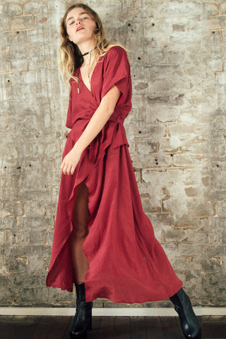 ISABELLA WRAP DRESS - BURGUNDY - Shakuhachi