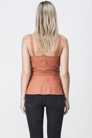 LACED UP EYELET BUSTIER TOP TOBACCO
