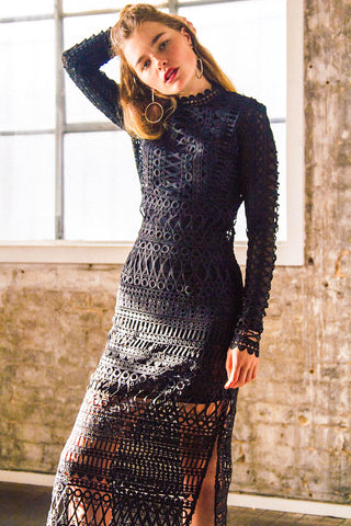 LACE BORDERS MIDI DRESS BLACK