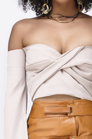 RAIN ON MY PARADE BANDEAU CROP - NUDE
