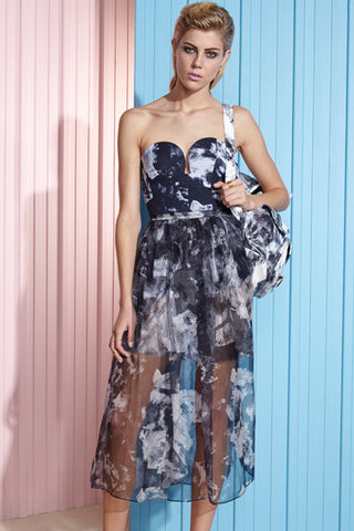 shakuhachi - bustier sheer maxi dress with skirt under abstract floral - 1