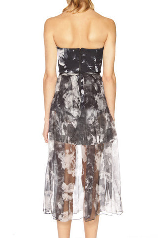 shakuhachi - bustier sheer maxi dress with skirt under abstract floral - 3