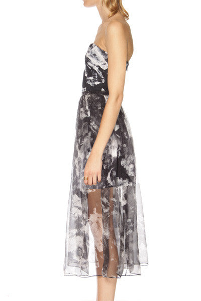 shakuhachi - bustier sheer maxi dress with skirt under abstract floral - 4