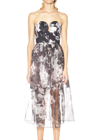 BUSTIER SHEER MAXI DRESS WITH SKIRT UNDER ABSTRACT FLORAL