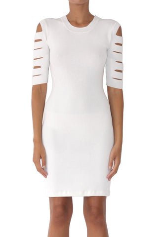 Slasher knit short sleeve dress white (pre-order)