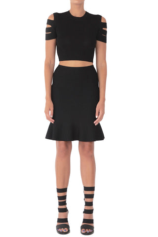 Slasher knit skater skirt black (pre-order)