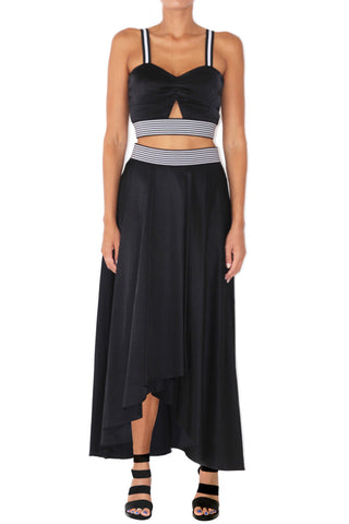Dance card long drape skirt black