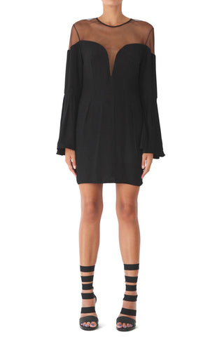 Loulou sweetheart neck bell sleeve dress