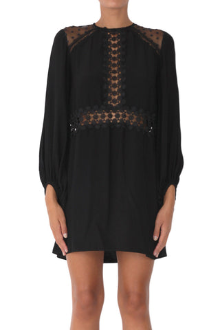 Harlow lace trimmed balloon sleeve shift dress black