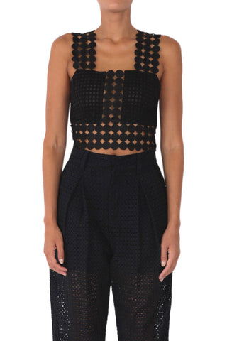 Wonderland circle lace crop top black
