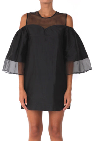 LOULOU VOLUME SLEEVE DRESS BLACK