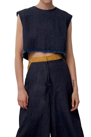 DENIM BOXY CROP TOP - Shakuhachi - 3