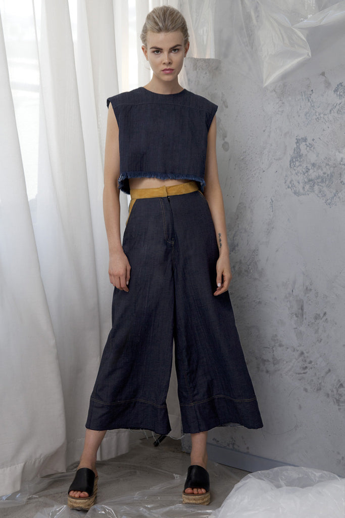 DENIM BOXY CROP TOP - Shakuhachi - 2