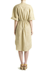 shakuhachi - SCOOP HEM DOUBLE POCKET DRESS KHAKI - 2