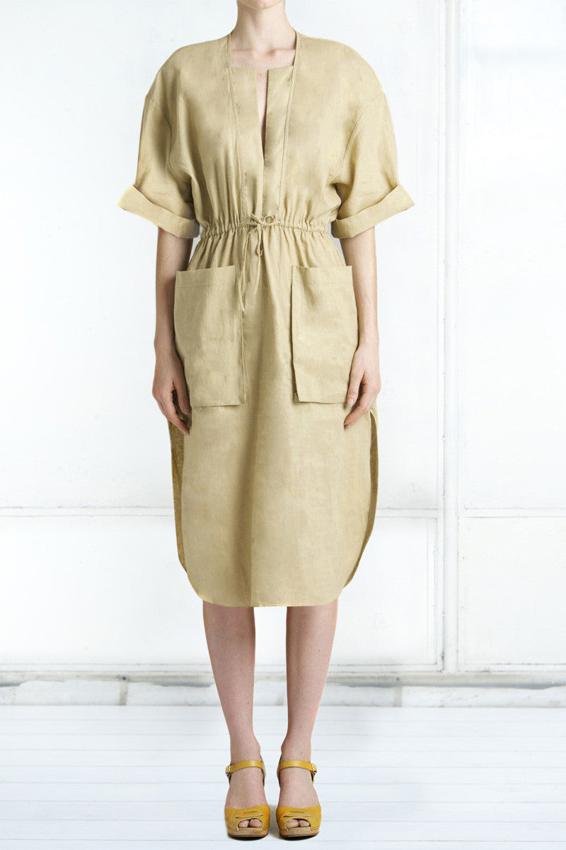 shakuhachi - SCOOP HEM DOUBLE POCKET DRESS KHAKI - 1
