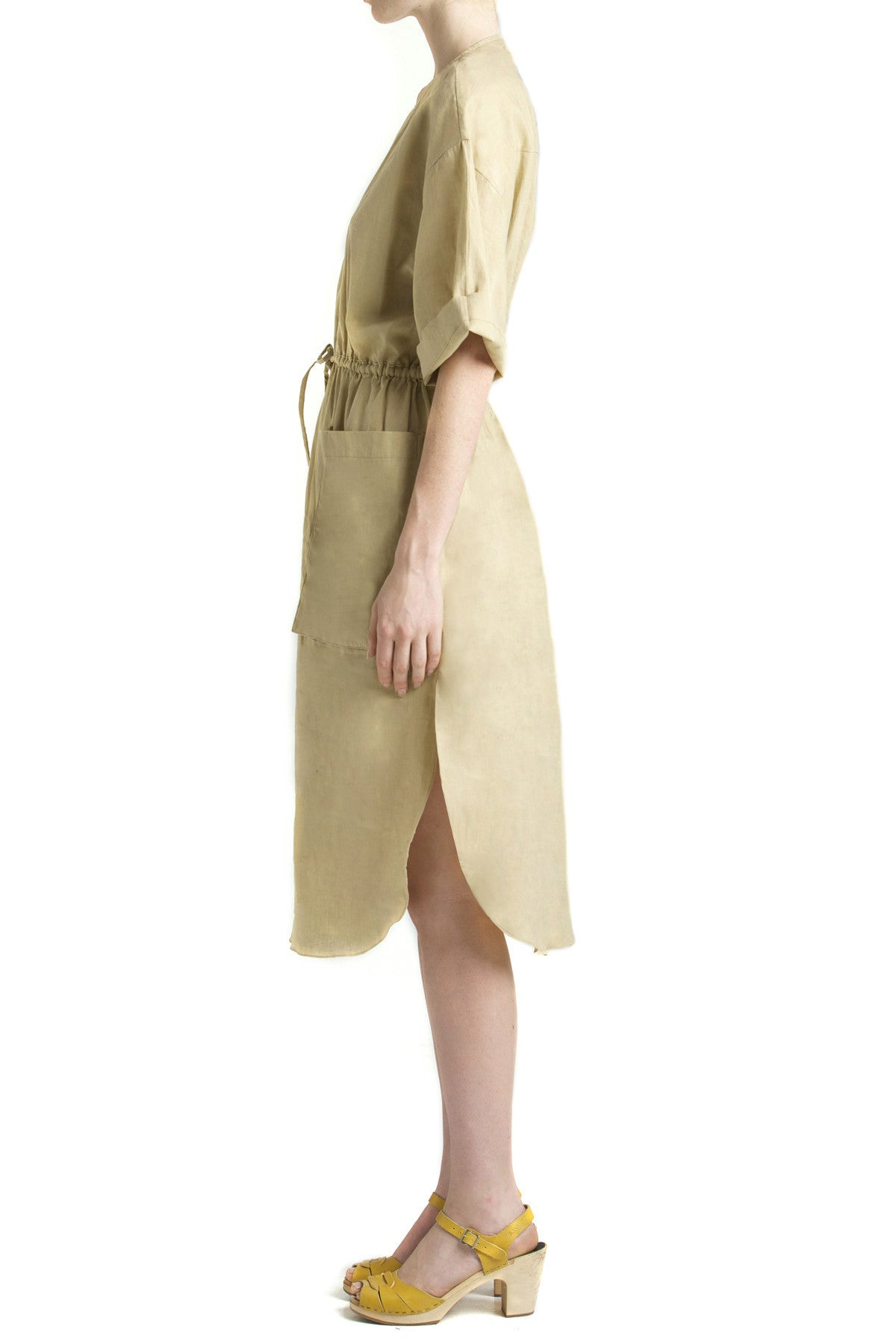 shakuhachi - SCOOP HEM DOUBLE POCKET DRESS KHAKI - 3