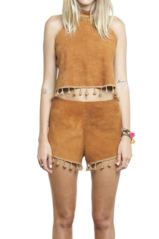 FARRAH  SUEDE TURTLENECK CROP TOP BROWN - Shakuhachi - 2