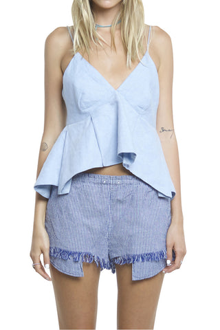 KICK OUT PLEATS CAMI LIGHT BLUE