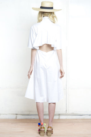 FRENCHY FLARED BACK SHIRT DRESS WHITE - Shakuhachi - 2