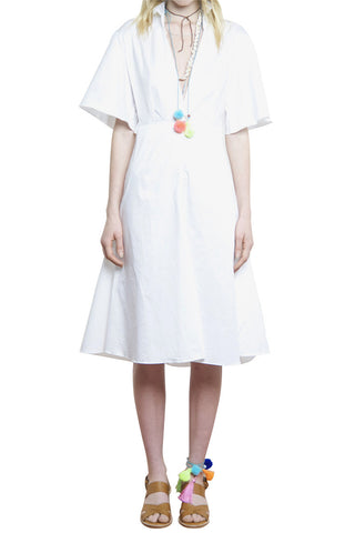 FRENCHY FLARED BACK SHIRT DRESS WHITE - Shakuhachi - 5