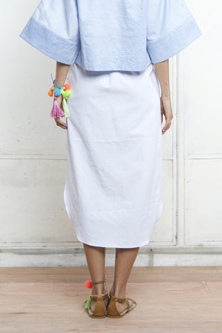 SCOOP HEM PAPERBAG SKIRT - WHITE