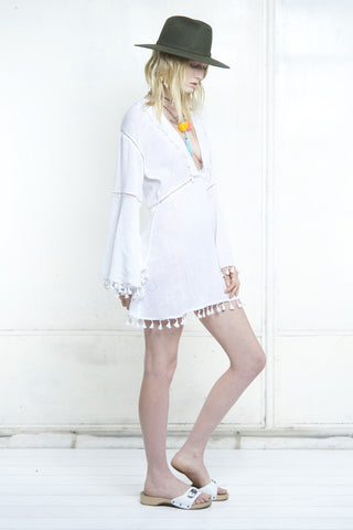 SUNDANCE LADDERING KAFTAN DRESS - Shakuhachi - 4