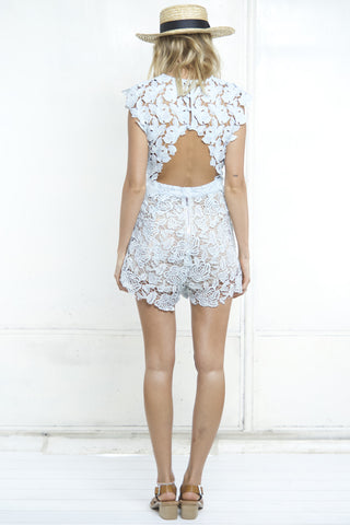 HOLEY BACK LACEY PLAYSUIT - Shakuhachi - 2