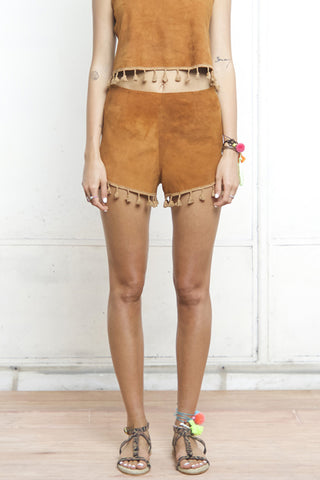 FAWCETT POMPOM SUEDE SHORT BROWN