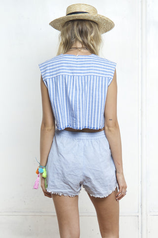 BOXY STRIPE CROP TOP