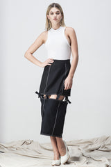shakuhachi - KNOTTED MIDI SKIRT BLACK - 1