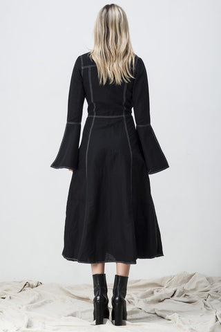 CONTRAST STITCH LONG FLARE SLEEVE SHIRT DRESS BLACK