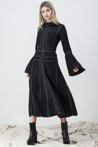 shakuhachi - CONTRAST STITCH LONG FLARE SLEEVE SHIRT DRESS BLACK - 1