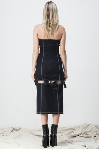 shakuhachi - BUSTIER SPLIT KNOTTED DRESS BLACK - 2