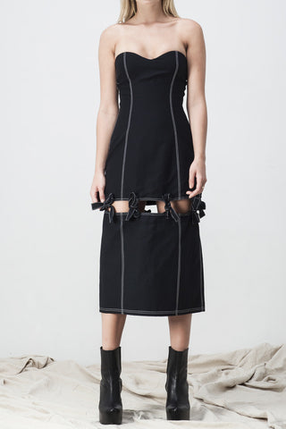 BUSTIER SPLIT KNOTTED DRESS BLACK - Shakuhachi