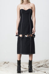 shakuhachi - BUSTIER SPLIT KNOTTED DRESS BLACK - 3