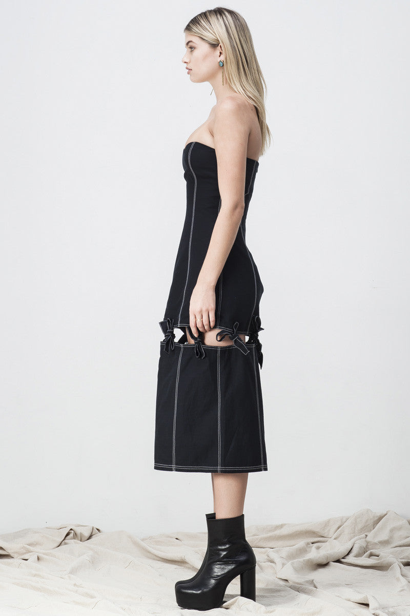 shakuhachi - BUSTIER SPLIT KNOTTED DRESS BLACK - 4