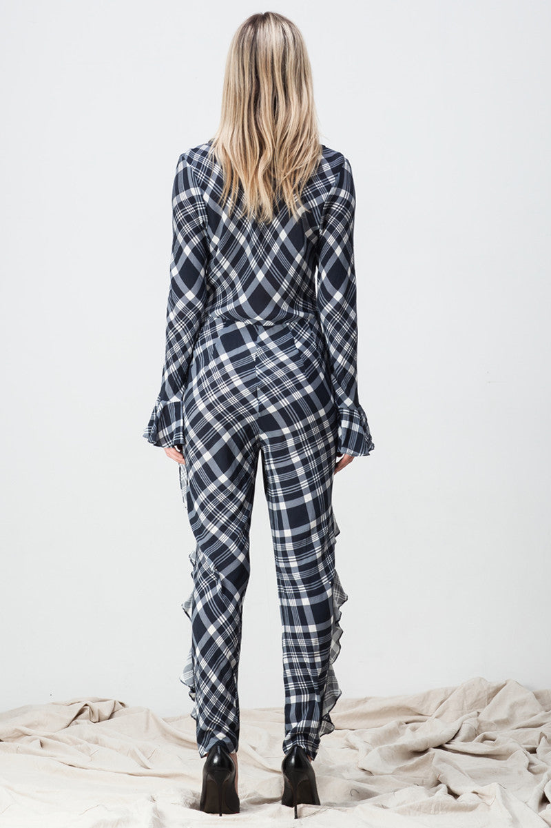 shakuhachi - CHECKER RUFFLED JUMPSUIT - 3