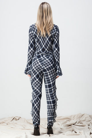 CHECKER RUFFLED JUMPSUIT