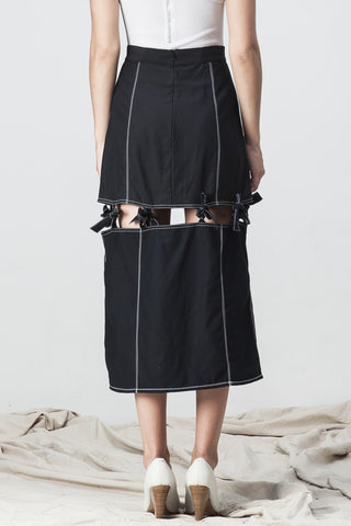 KNOTTED MIDI SKIRT BLACK