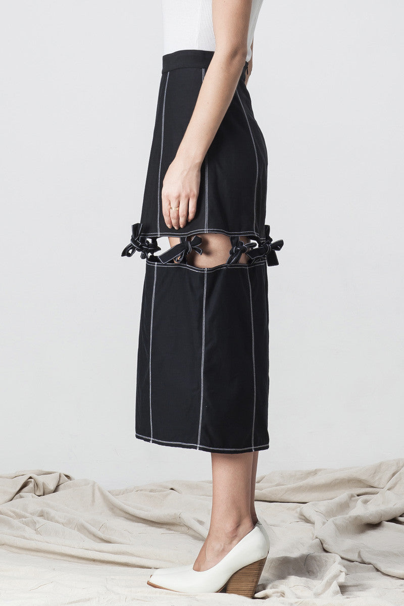 shakuhachi - KNOTTED MIDI SKIRT BLACK - 4