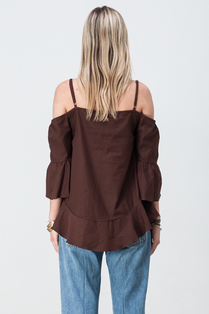 shakuhachi - OFF SHOULDER UPDOWN FLARE TOP BROWN - 3