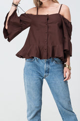 shakuhachi - OFF SHOULDER UPDOWN FLARE TOP BROWN - 4
