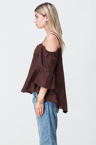 OFF SHOULDER UPDOWN FLARE TOP BROWN